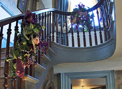 Staircase decorated with florals