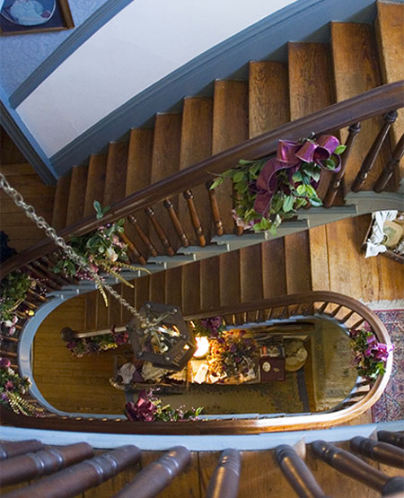 View of staircase looking down